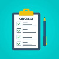 Checklist with tick marks in a flat style. Questionnaire on a clipboard paper. Successful completion of business tasks. Checklist, tasks, to-do list, survey, exam concepts. Vector illustration.